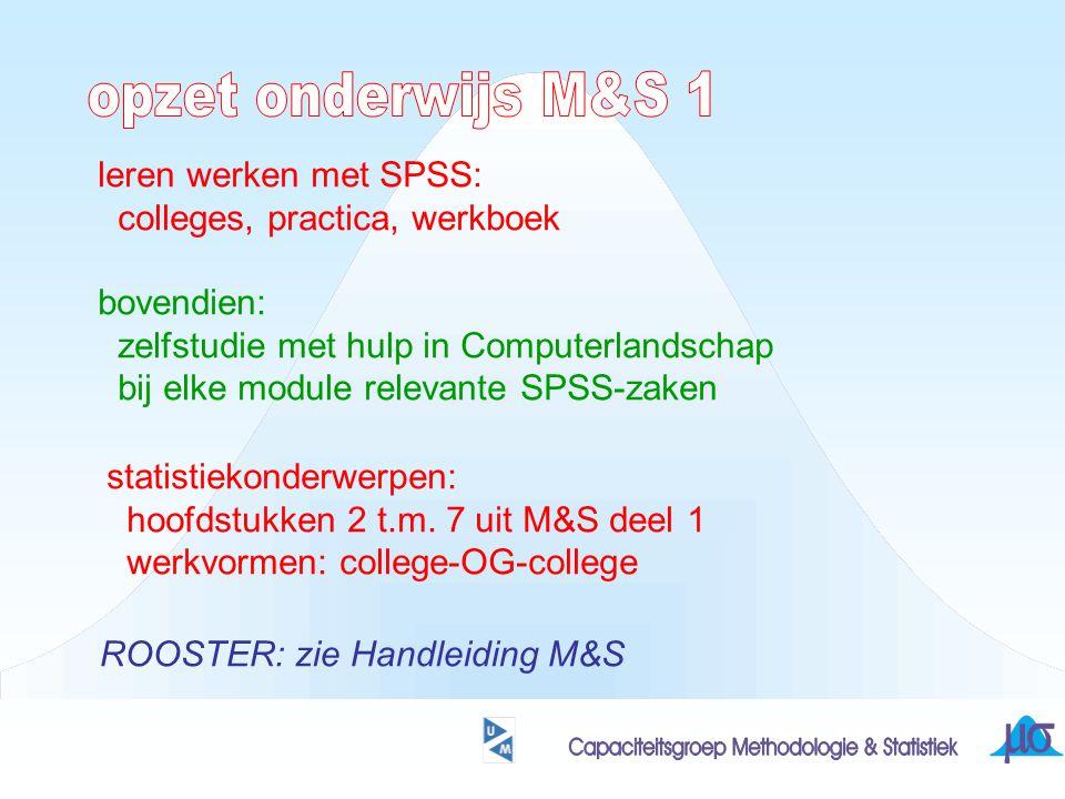 leren werken met SPSS: colleges, practica, werkboek bovendien: zelfstudie met hulp in Computerlandschap bij elke module relevante SPSS-zaken statistiekonderwerpen: hoofdstukken 2 t.m.