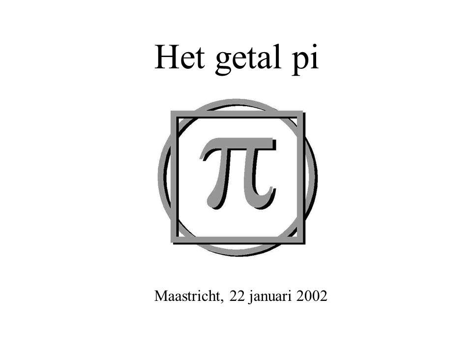 Het getal pi Maastricht, 22 januari 2002