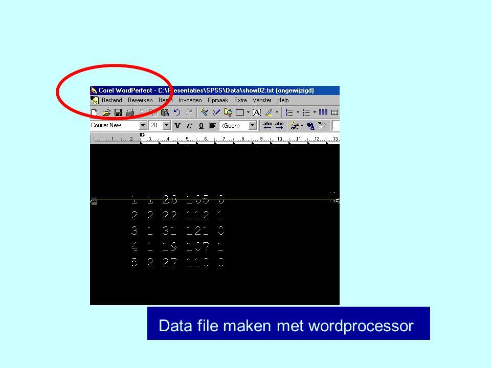 Data file maken met wordprocessor