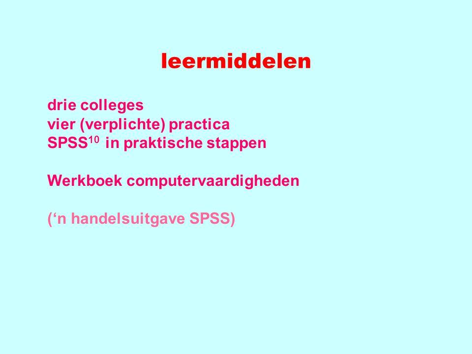 leermiddelen drie colleges vier (verplichte) practica SPSS 10 in praktische stappen Werkboek computervaardigheden ('n handelsuitgave SPSS)