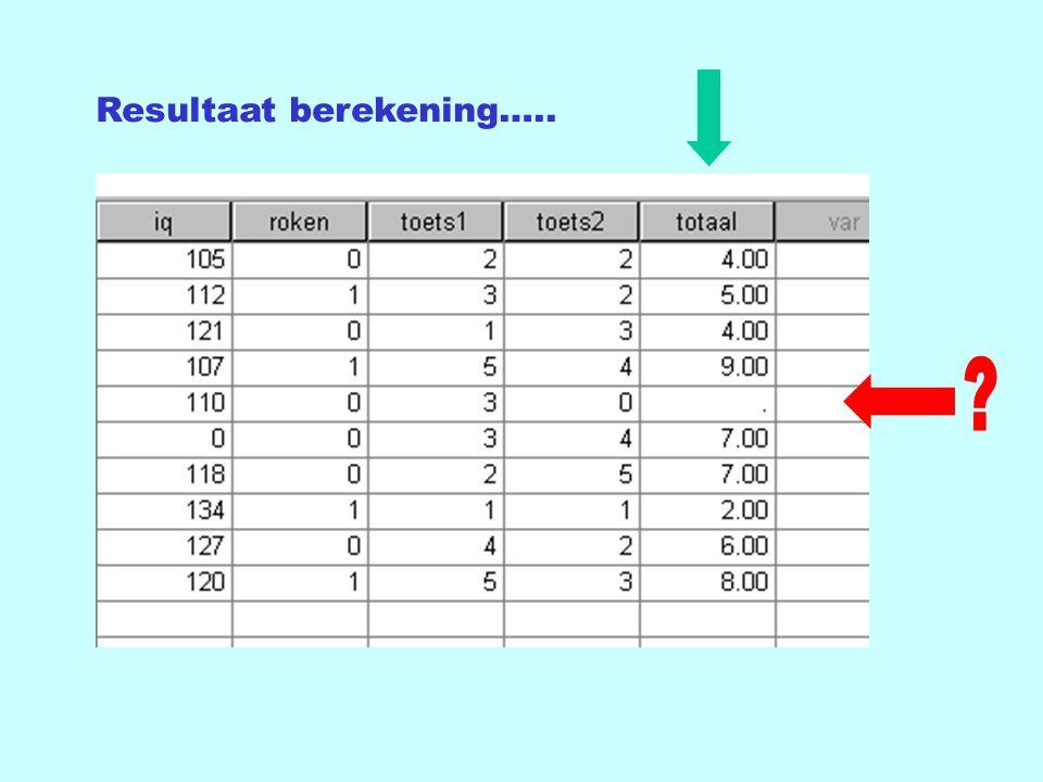 Resultaat berekening…..