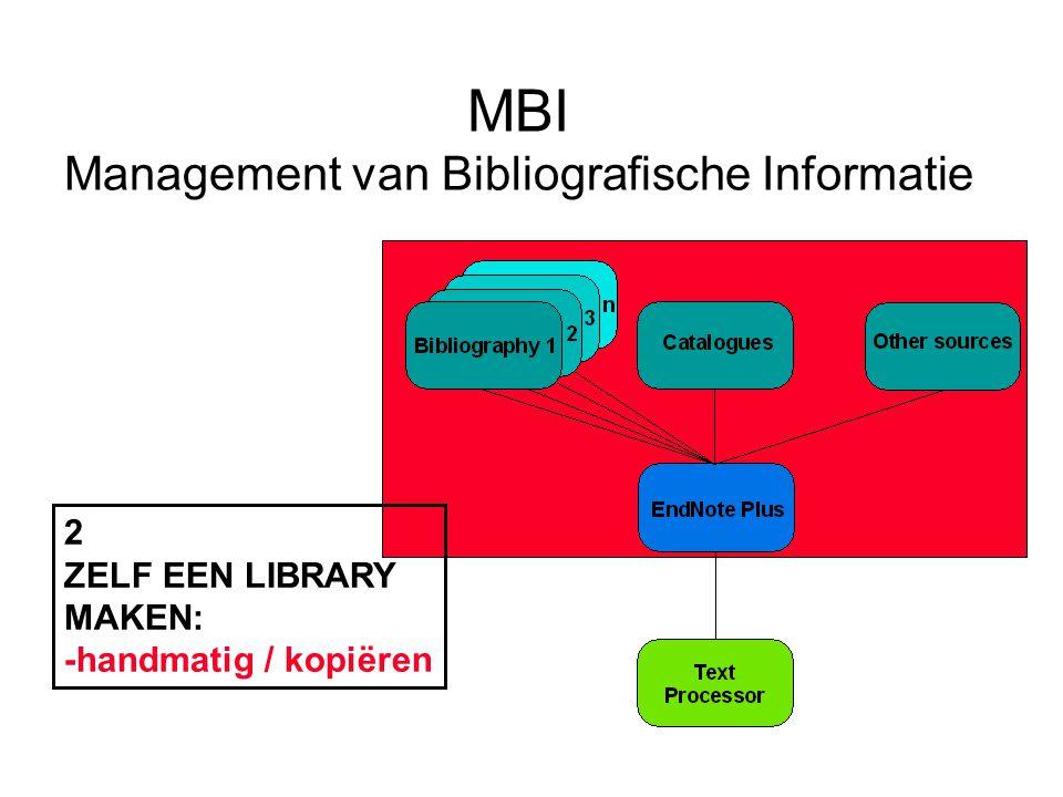 MBI Management van Bibliografische Informatie 2 ZELF EEN LIBRARY MAKEN: -handmatig / kopiëren