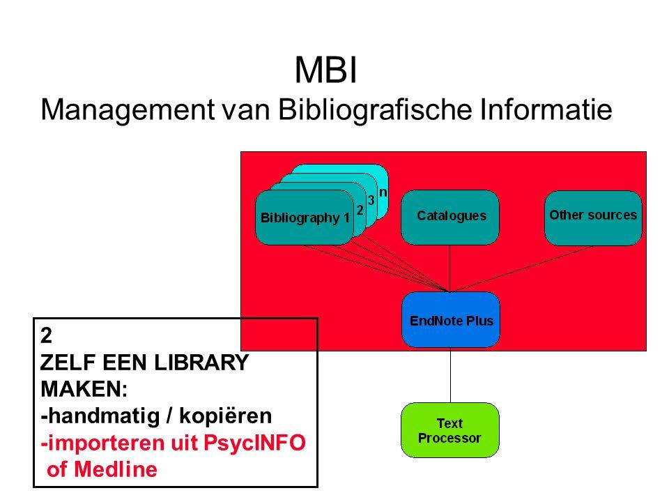 MBI Management van Bibliografische Informatie 2 ZELF EEN LIBRARY MAKEN: -handmatig / kopiëren -importeren uit PsycINFO of Medline