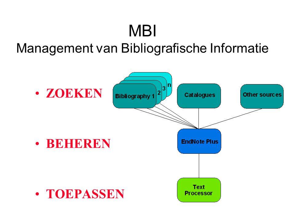 MBI Management van Bibliografische Informatie ZOEKEN BEHEREN TOEPASSEN