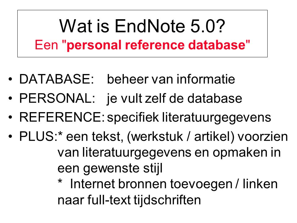 Wat is EndNote 5.0.