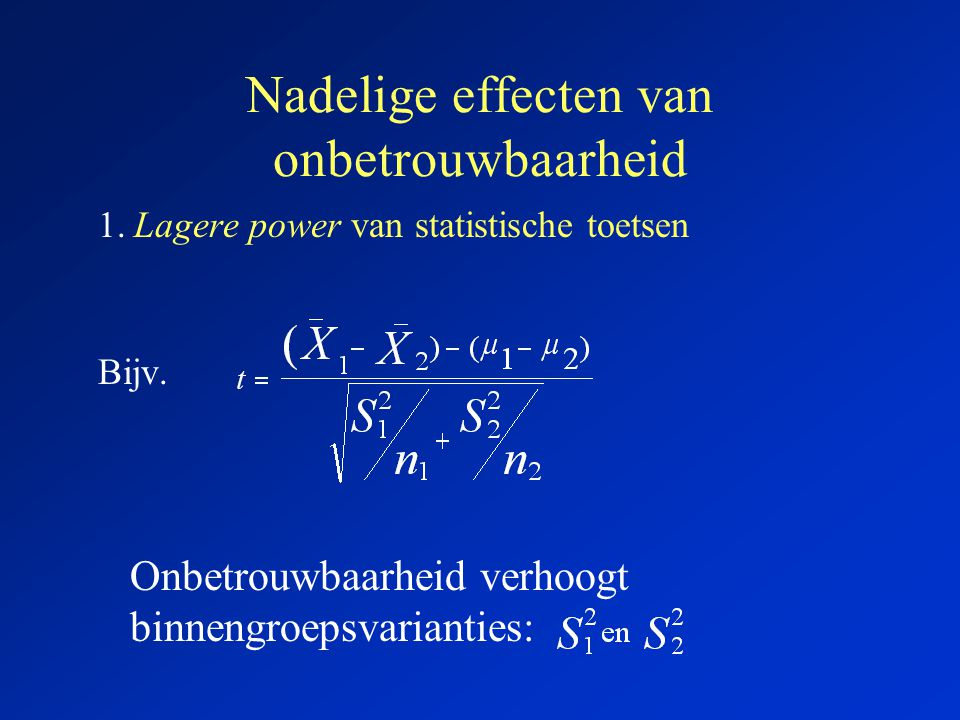 Heterogeniteit in 2 betekenissen: (2) Heterogeniteit van de items in een schaal Hoe heterogener de items, hoe lager de items met elkaar correleren, en hoe lager de betrouwbaarheid van 1 item .