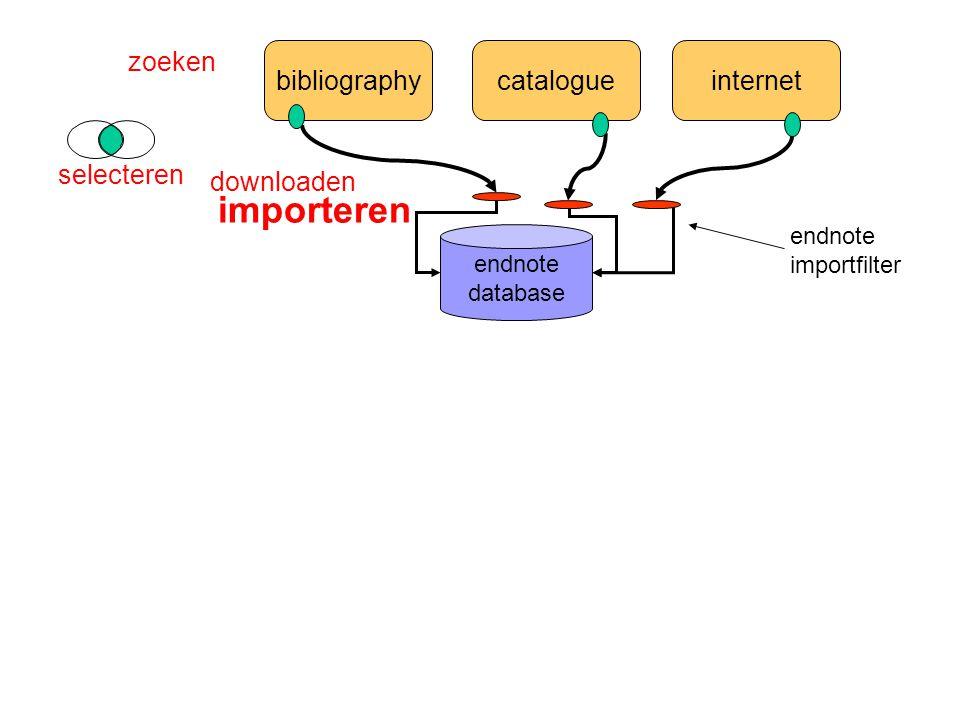bibliographycatalogueinternet endnote database zoeken selecteren importeren endnote importfilter downloaden