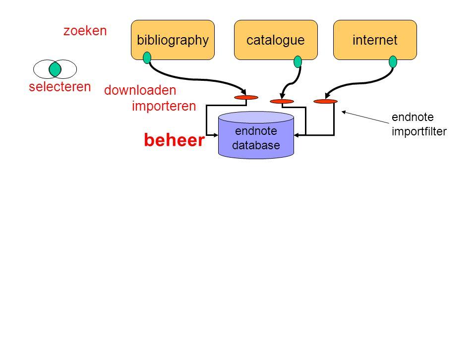 bibliographycatalogueinternet endnote database zoeken selecteren importeren endnote importfilter beheer downloaden