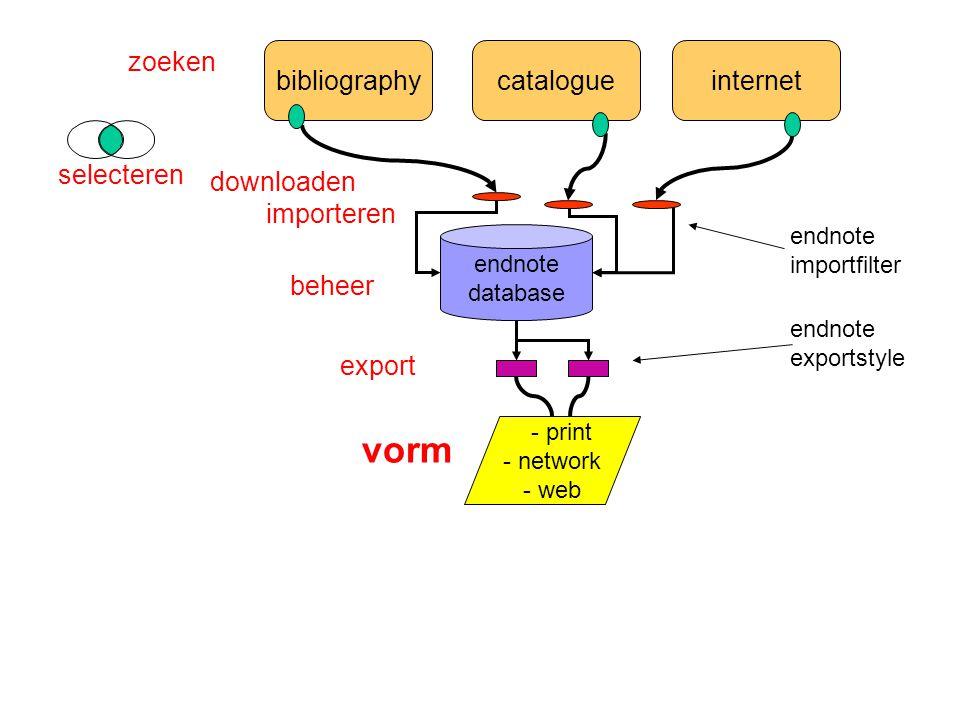 bibliographycatalogueinternet endnote database - print - network - web zoeken selecteren importeren endnote importfilter export beheer vorm endnote exportstyle downloaden