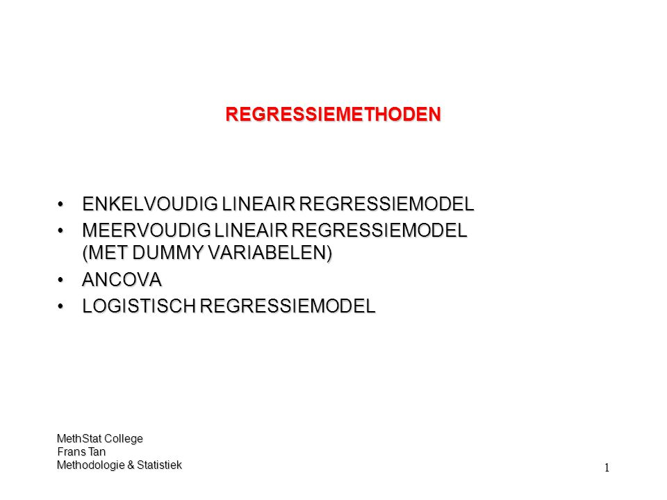 102 TOETSEN VOOR HET VERGELIJKEN TUSSEN MODELLEN LOGISTISCH REGRESSIEMODEL Block 2: Method = Enter MODEL Variables in the Equation -,197,1172,8291,093,821 139,2462,000 -,037,110 1,740,964 -1,315,117126,9611,000,268,768,12537,9301,0002,156 GESLACHT STUDIE STUDIE(2) STUDIE(3) Constant Step 1 a BS.E.WalddfSig.Exp(B) Variable(s) entered on step 1: GESLACHT, STUDIE.