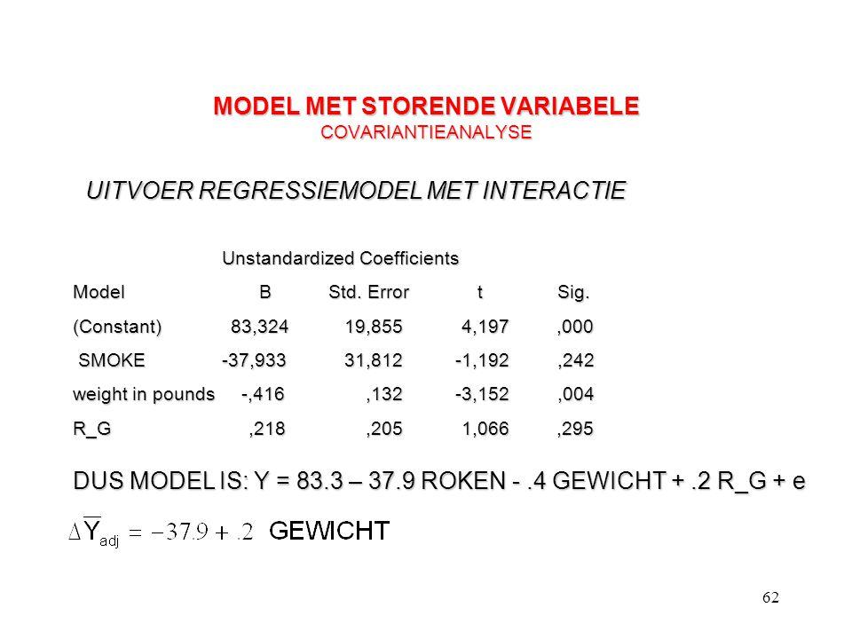 62 MODEL MET STORENDE VARIABELE COVARIANTIEANALYSE Unstandardized Coefficients Model BStd. Error t Sig. (Constant) 83,324 19,855 4,197,000 SMOKE -37,9