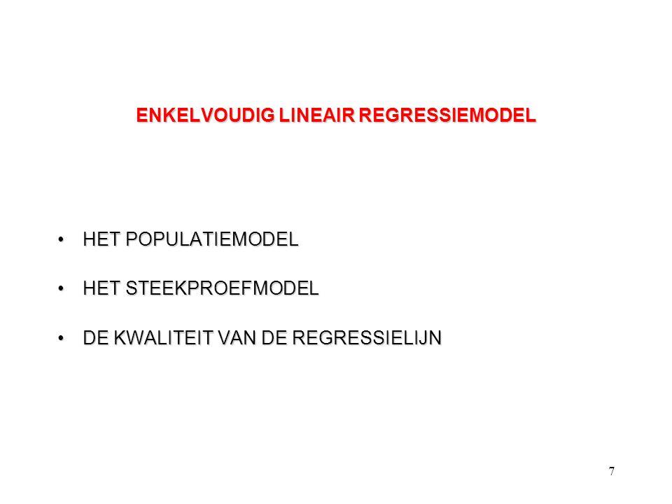 7 ENKELVOUDIG LINEAIR REGRESSIEMODEL HET POPULATIEMODELHET POPULATIEMODEL HET STEEKPROEFMODELHET STEEKPROEFMODEL DE KWALITEIT VAN DE REGRESSIELIJNDE K