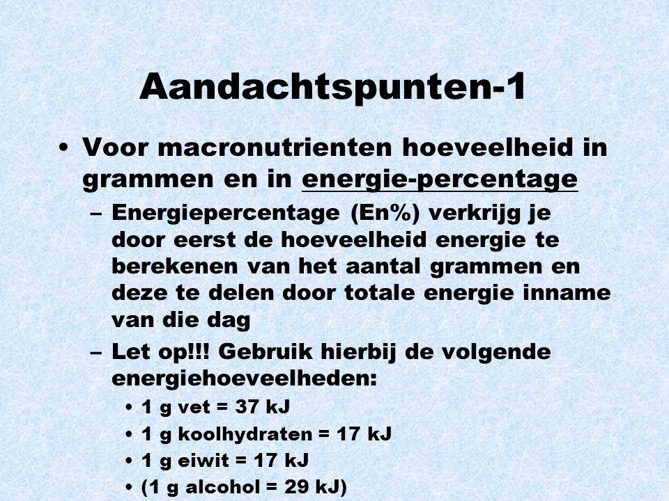 Aandachtspunten-1 Voor macronutrienten hoeveelheid in grammen en in energie-percentage –Energiepercentage (En%) verkrijg je door eerst de hoeveelheid energie te berekenen van het aantal grammen en deze te delen door totale energie inname van die dag –Let op!!.