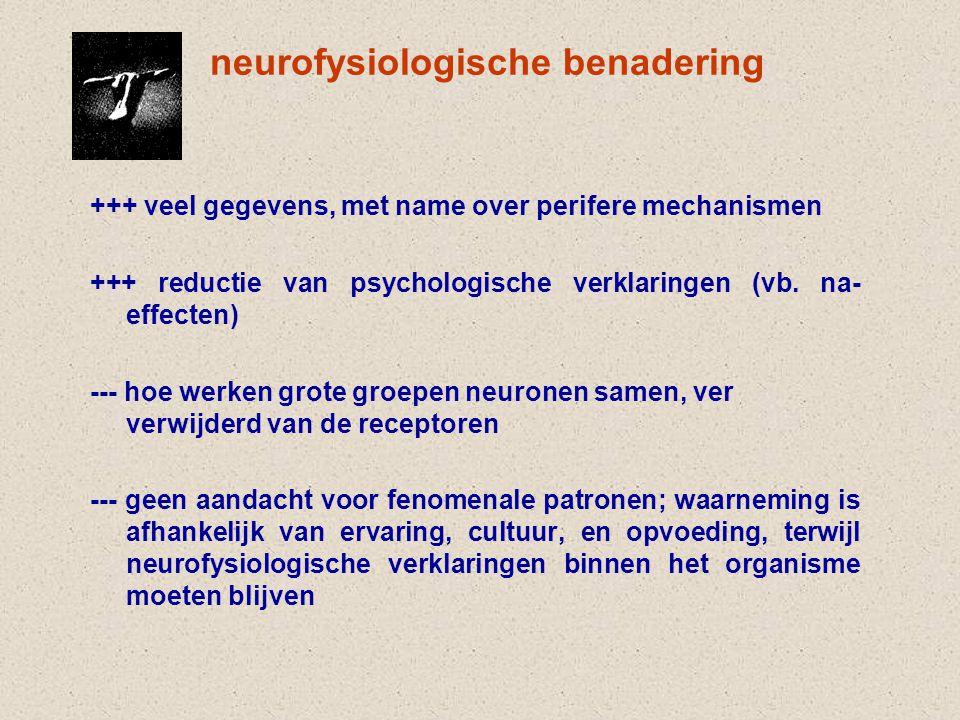 neurofysiologische benadering +++ veel gegevens, met name over perifere mechanismen +++ reductie van psychologische verklaringen (vb.