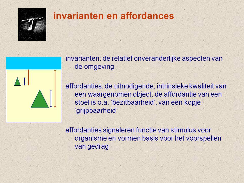 invarianten en affordances invarianten: de relatief onveranderlijke aspecten van de omgeving affordanties: de uitnodigende, intrinsieke kwaliteit van een waargenomen object: de affordantie van een stoel is o.a.