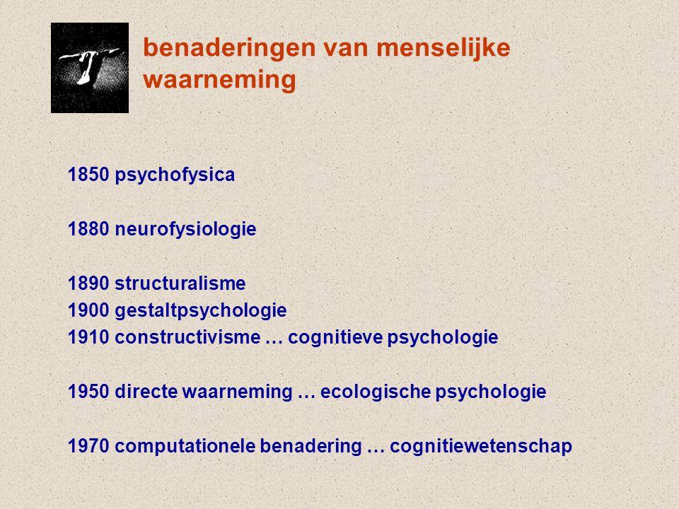 benaderingen van menselijke waarneming 1850 psychofysica 1880 neurofysiologie 1890 structuralisme 1900 gestaltpsychologie 1910 constructivisme … cognitieve psychologie 1950 directe waarneming … ecologische psychologie 1970 computationele benadering … cognitiewetenschap