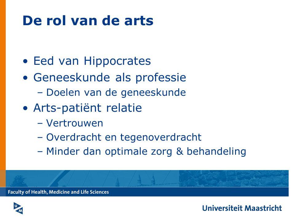 De rol van de arts Eed van Hippocrates Geneeskunde als professie –Doelen van de geneeskunde Arts-patiënt relatie –Vertrouwen –Overdracht en tegenoverdracht –Minder dan optimale zorg & behandeling