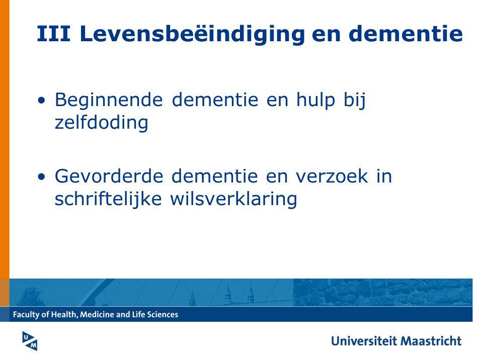 III Levensbeëindiging en dementie Beginnende dementie en hulp bij zelfdoding Gevorderde dementie en verzoek in schriftelijke wilsverklaring
