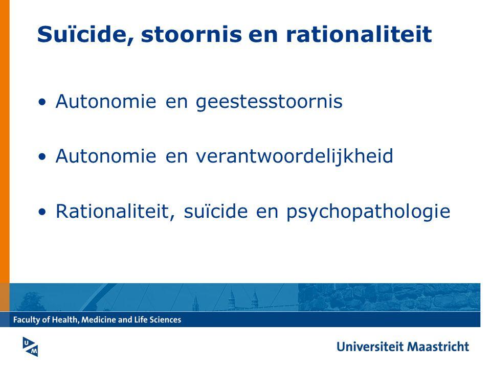 Suïcide, stoornis en rationaliteit Autonomie en geestesstoornis Autonomie en verantwoordelijkheid Rationaliteit, suïcide en psychopathologie