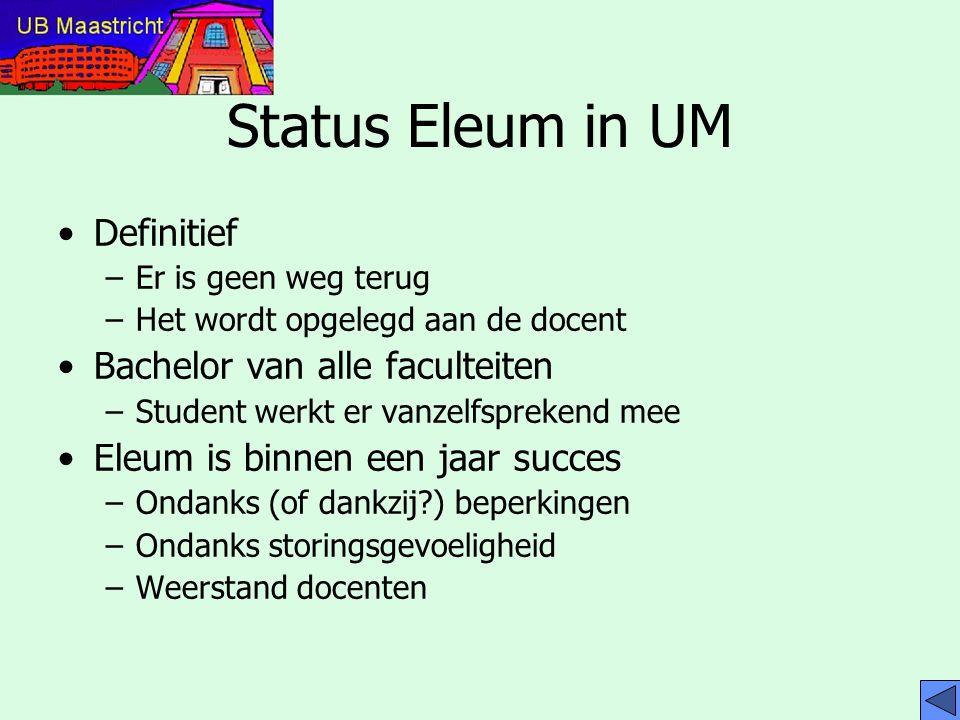 Wat kan met Eleum www.eleum.unimaas.nl UB collega's –Betrekkelijk diep en breed kijken Student –Specifiek, diep kijken en participeren Docent –Specifiek bouwen en aanbieden Administrator
