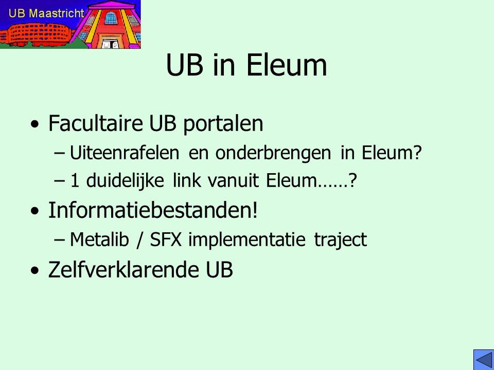 Conclusies Eleum in welke vorm dan ook is definitief De UB maakt in toenemende mate deel uit van Eleum Zelfverklarende UB zou een plaats moeten krijgen Hoe verder met facultaire portalen / informatiebestanden hangt op Metalib