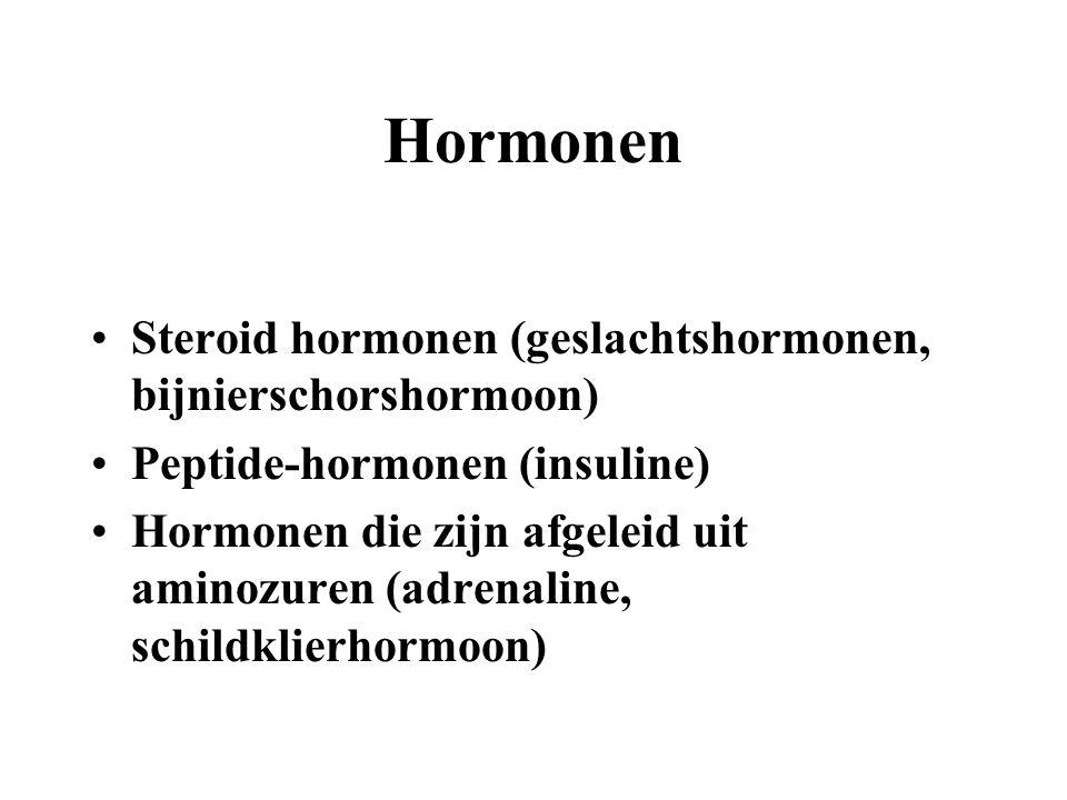 Hormonen Steroid hormonen (geslachtshormonen, bijnierschorshormoon) Peptide-hormonen (insuline) Hormonen die zijn afgeleid uit aminozuren (adrenaline,