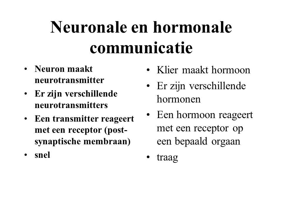 Neuronale en hormonale communicatie Neuron maakt neurotransmitter Er zijn verschillende neurotransmitters Een transmitter reageert met een receptor (post- synaptische membraan) snel Klier maakt hormoon Er zijn verschillende hormonen Een hormoon reageert met een receptor op een bepaald orgaan traag