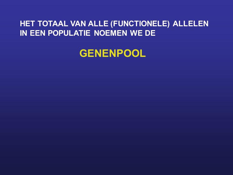 HET TOTAAL VAN ALLE (FUNCTIONELE) ALLELEN IN EEN POPULATIE NOEMEN WE DE GENENPOOL