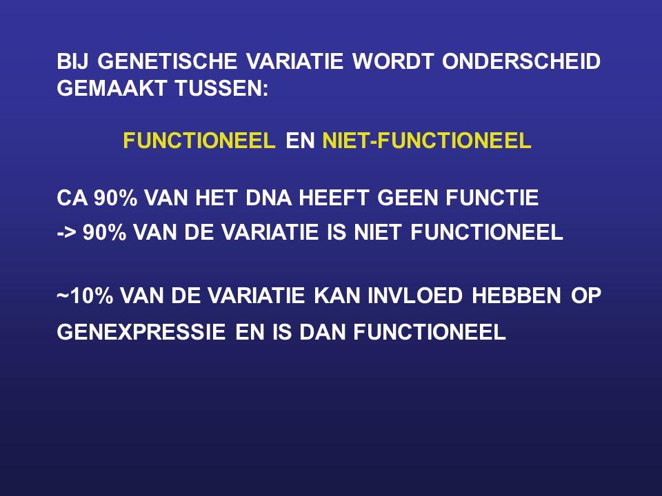 BIJ GENETISCHE VARIATIE WORDT ONDERSCHEID GEMAAKT TUSSEN: FUNCTIONEEL EN NIET-FUNCTIONEEL CA 90% VAN HET DNA HEEFT GEEN FUNCTIE -> 90% VAN DE VARIATIE