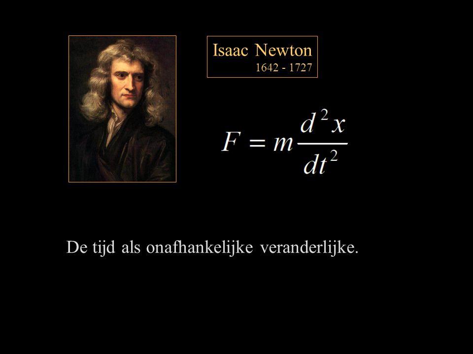 Isaac Newton 1642 - 1727 De tijd als onafhankelijke veranderlijke.