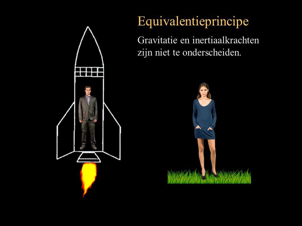 Equivalentieprincipe Gravitatie en inertiaalkrachten zijn niet te onderscheiden.
