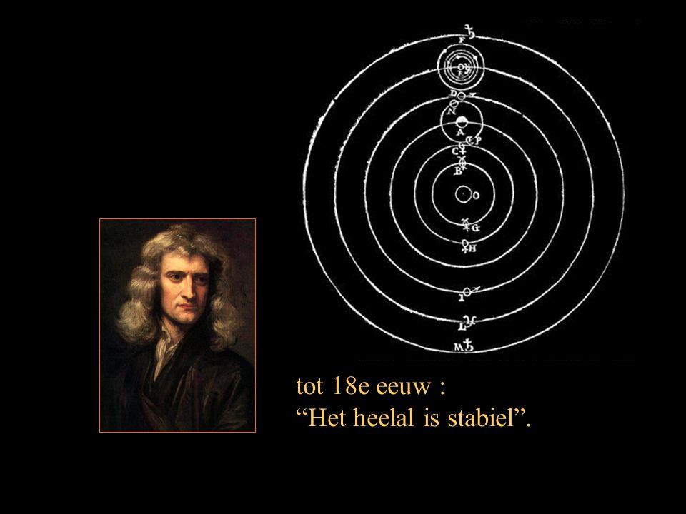 """tot 18e eeuw : """"Het heelal is stabiel""""."""