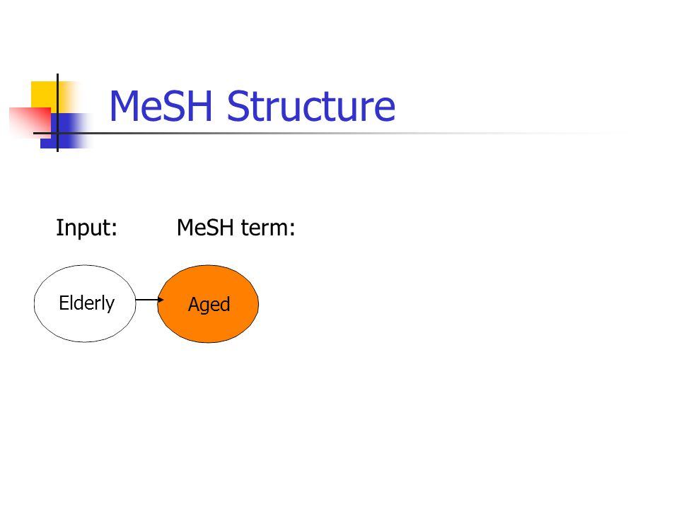 Aged MeSH Structure Input:MeSH term: Elderly