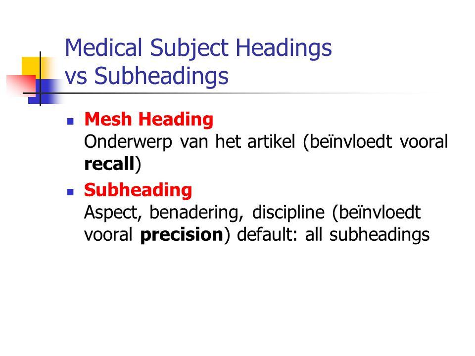 Medical Subject Headings vs Subheadings Mesh Heading Onderwerp van het artikel (beïnvloedt vooral recall) Subheading Aspect, benadering, discipline (beïnvloedt vooral precision) default: all subheadings