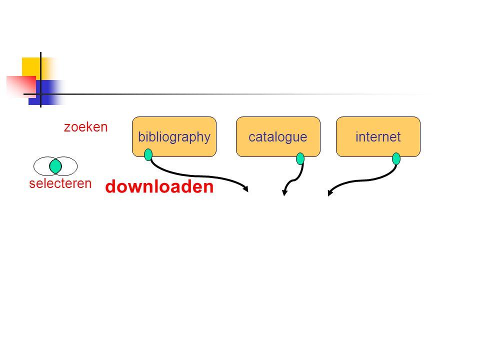 bibliographycatalogueinternet zoeken selecteren downloaden