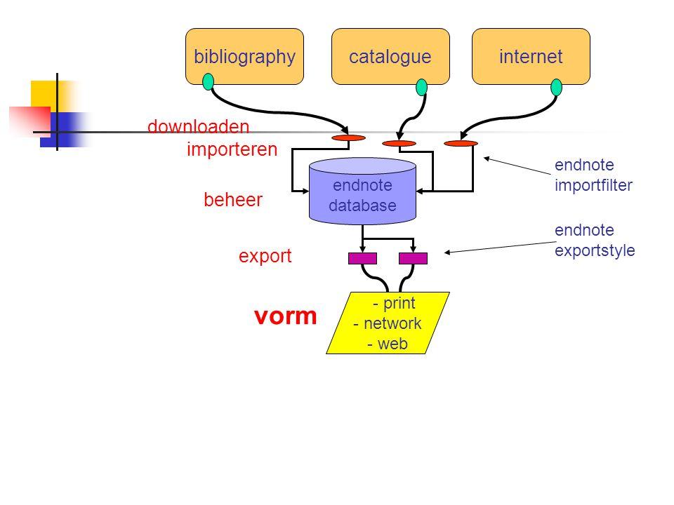 bibliographycatalogueinternet endnote database - print - network - web importeren endnote importfilter export beheer vorm endnote exportstyle downloaden