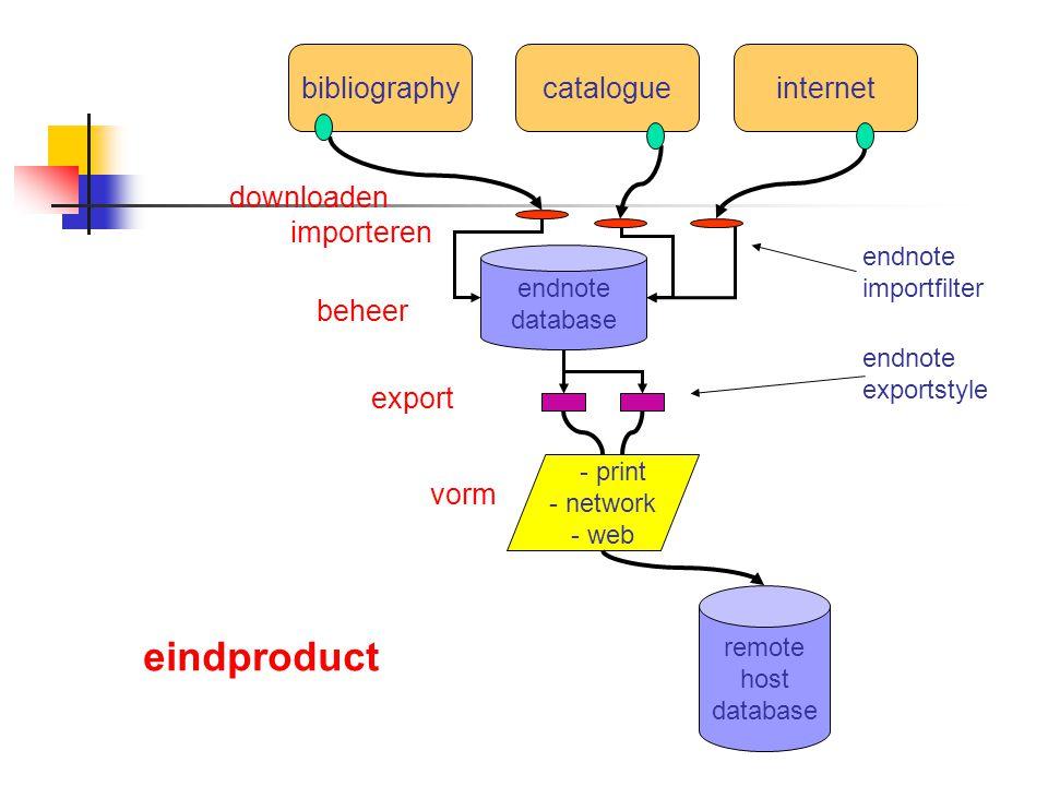bibliographycatalogueinternet endnote database remote host database - print - network - web importeren endnote importfilter export beheer vorm endnote