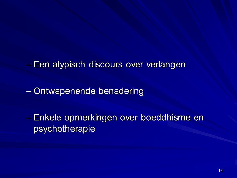 –Een atypisch discours over verlangen –Ontwapenende benadering –Enkele opmerkingen over boeddhisme en psychotherapie 14