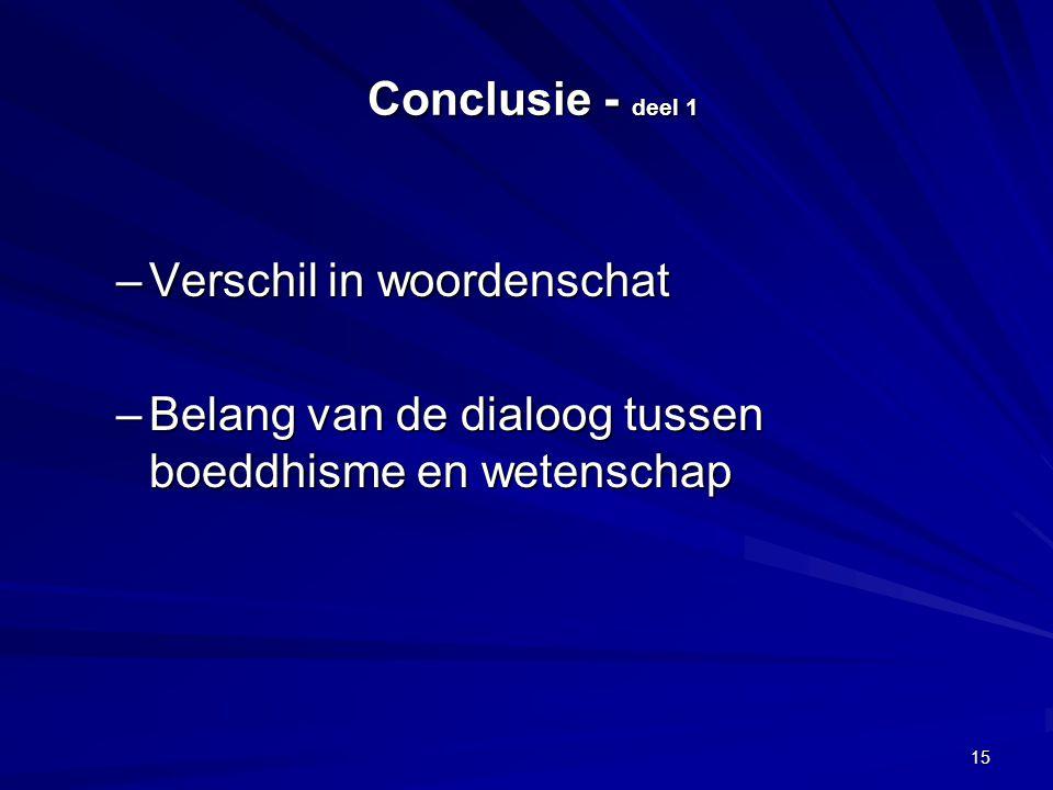 Conclusie - deel 1 Conclusie - deel 1 –Verschil in woordenschat –Belang van de dialoog tussen boeddhisme en wetenschap 15