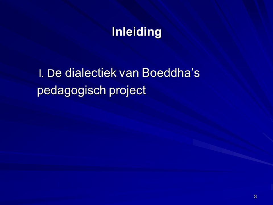 Inleiding I. D e dialectiek van Boeddha's pedagogisch project pedagogisch project 3