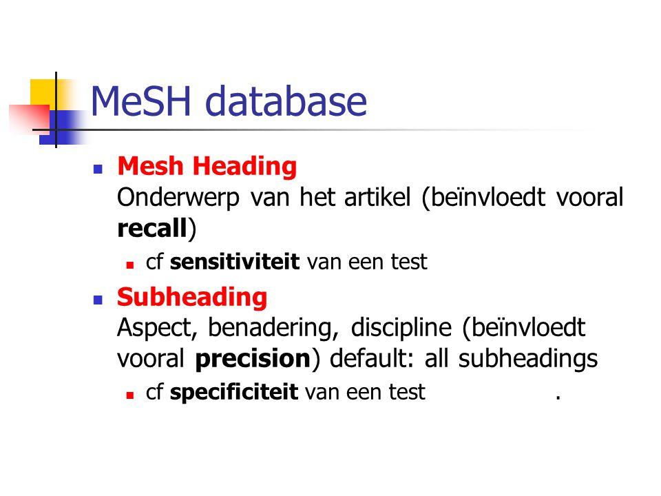 Mesh Heading Onderwerp van het artikel (beïnvloedt vooral recall) cf sensitiviteit van een test Subheading Aspect, benadering, discipline (beïnvloedt vooral precision) default: all subheadings cf specificiteit van een test.