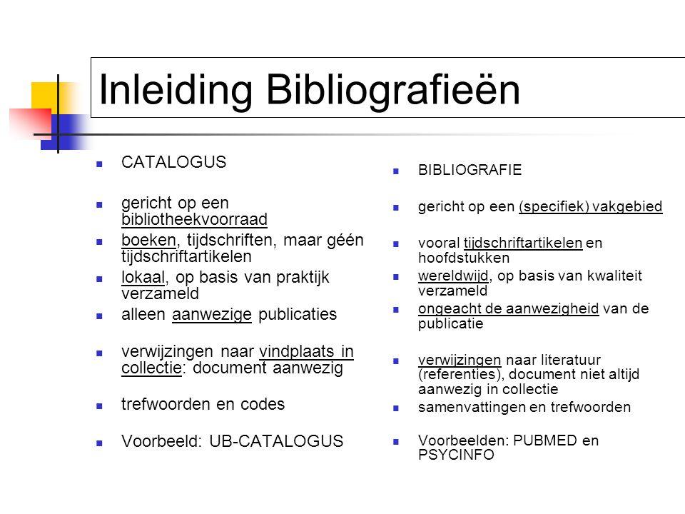 Elektronische Bibliografie Gestandaardiseerd format: records met fields 'links' naar full-text (online of papier) user interface / search engine booleaans zoeken: zoeken volgens verzamelingenleer: AND / OR / NOT
