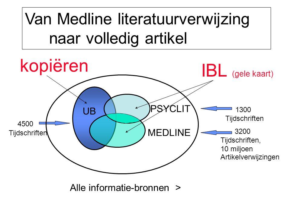Van Medline literatuurverwijzing naar volledig artikel 3200 Tijdschriften, 10 miljoen Artikelverwijzingen kopiëren IBL (gele kaart) Alle informatie-bronnen > UB MEDLINE PSYCLIT 4500 Tijdschriften 1300 Tijdschriften