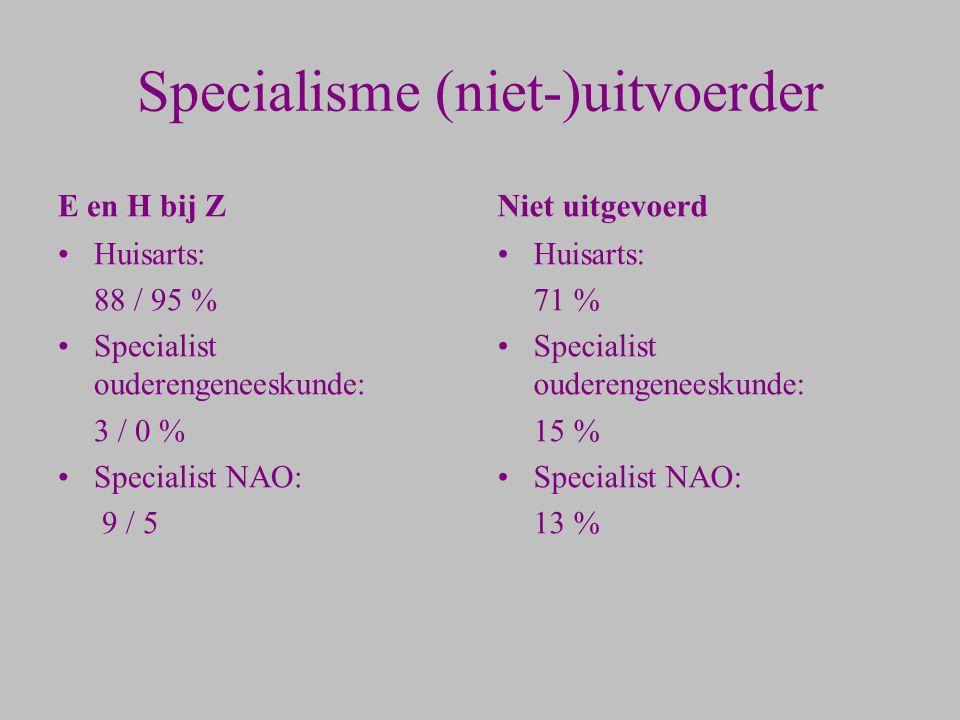 Specialisme (niet-)uitvoerder E en H bij Z Huisarts: 88 / 95 % Specialist ouderengeneeskunde: 3 / 0 % Specialist NAO: 9 / 5 Niet uitgevoerd Huisarts: