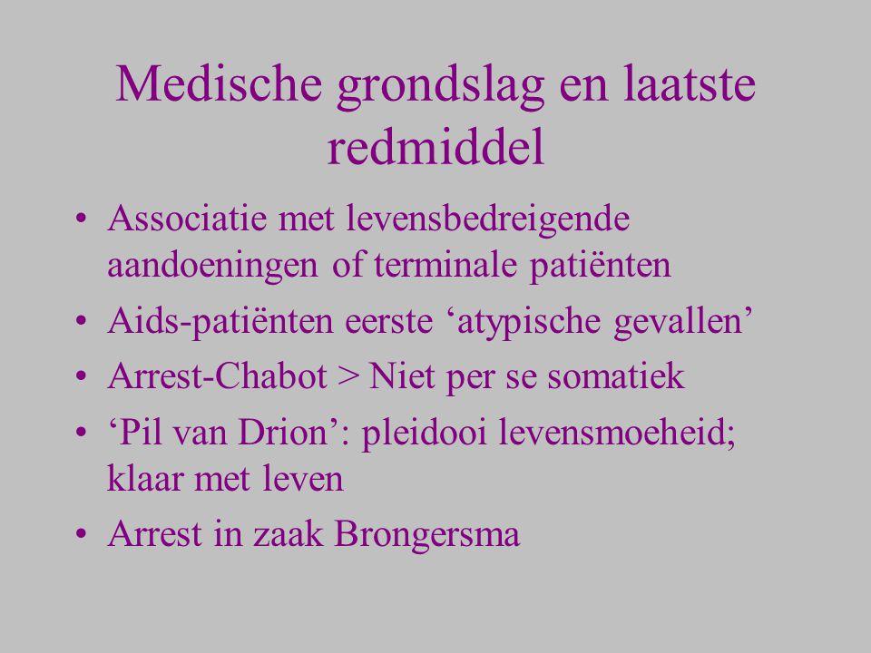Medische grondslag en laatste redmiddel Associatie met levensbedreigende aandoeningen of terminale patiënten Aids-patiënten eerste 'atypische gevallen