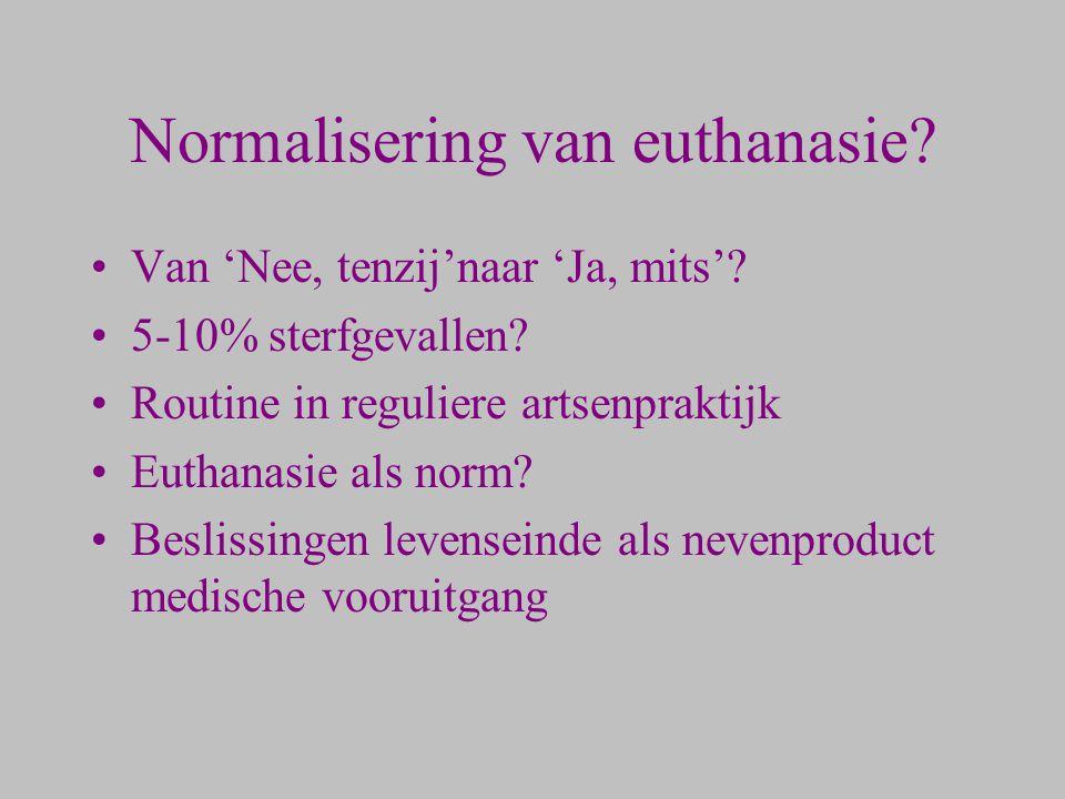 Normalisering van euthanasie? Van 'Nee, tenzij'naar 'Ja, mits'? 5-10% sterfgevallen? Routine in reguliere artsenpraktijk Euthanasie als norm? Beslissi