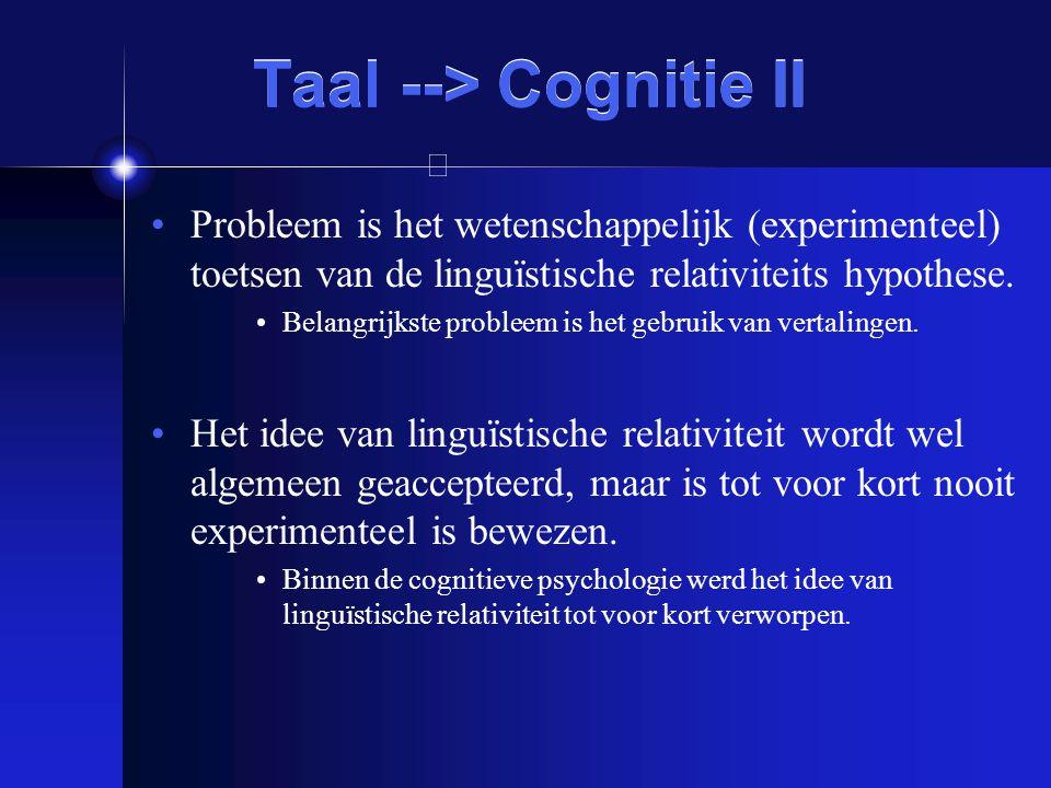 Taal --> Cognitie II Probleem is het wetenschappelijk (experimenteel) toetsen van de linguïstische relativiteits hypothese. Belangrijkste probleem is