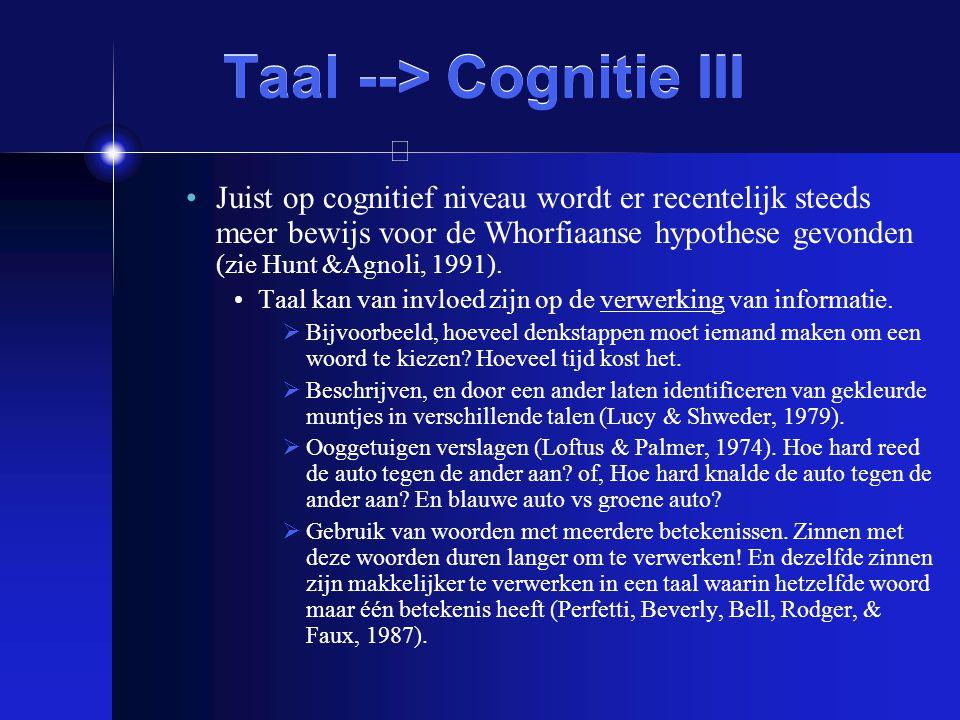 Taal --> Cognitie III Juist op cognitief niveau wordt er recentelijk steeds meer bewijs voor de Whorfiaanse hypothese gevonden (zie Hunt &Agnoli, 1991