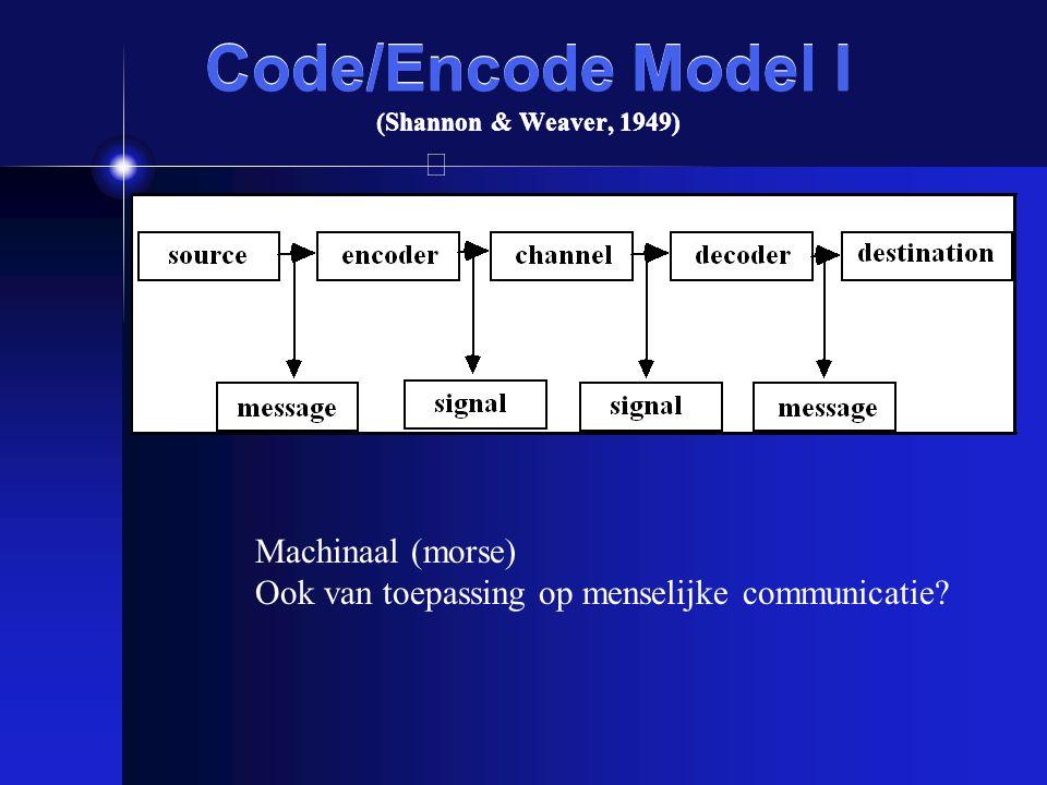 Code/Encode Model I (Shannon & Weaver, 1949) Machinaal (morse) Ook van toepassing op menselijke communicatie?