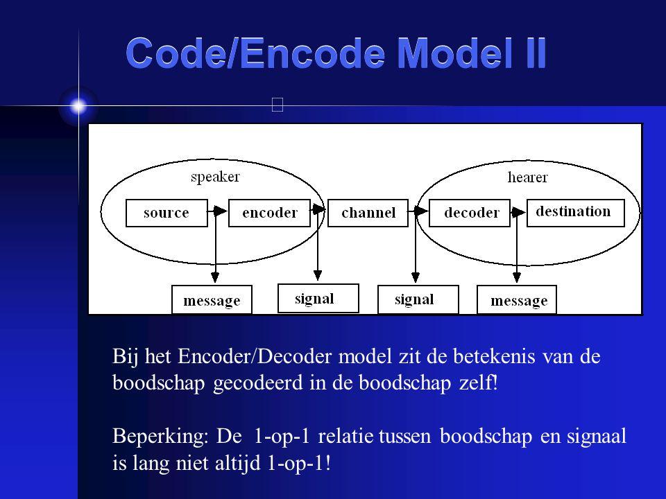 Code/Encode Model II Bij het Encoder/Decoder model zit de betekenis van de boodschap gecodeerd in de boodschap zelf! Beperking: De 1-op-1 relatie tuss